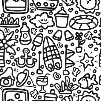 Modelo de padrão de design doodle praia