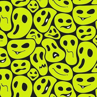 Modelo de padrão de emoticon distorcido assustador