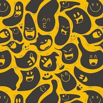 Modelo de padrão de emoticon distorcido fantasmagórico