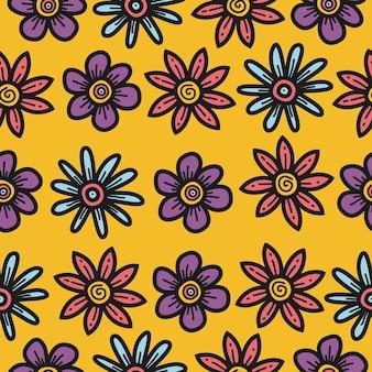 Modelo de padrão de flor de desenho animado kawaii