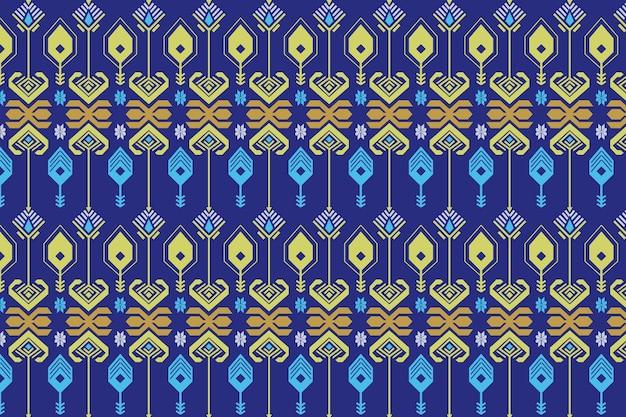 Modelo de padrão de songket sem costura azul