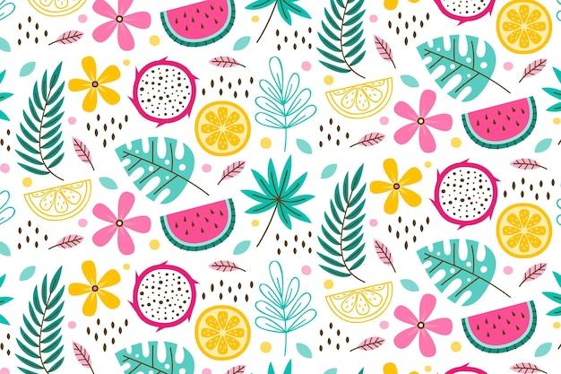Modelo de padrão de verão com folhas e frutas