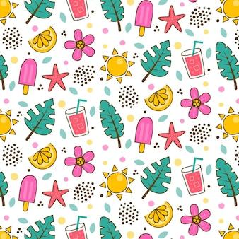Modelo de padrão de verão com folhas e sorvete