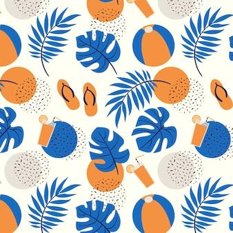 Modelo de padrão de verão com folhas tropicais e bola de praia