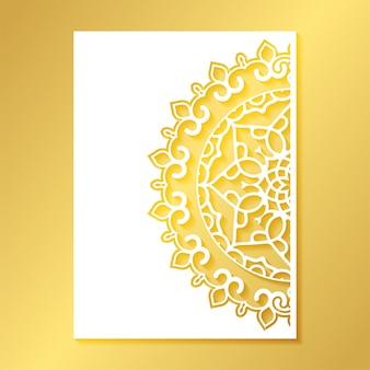 Modelo de padrão decorativo de mandala de corte sem costura