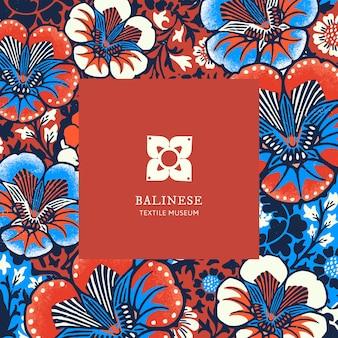 Modelo de padrão floral batik com logotipo mínimo, remixado de obras de arte de domínio público