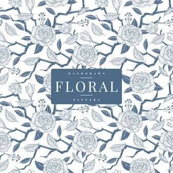 Modelo de padrão floral vintage handdrawn