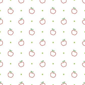 Modelo de padrão sem emenda de contorno de maçã