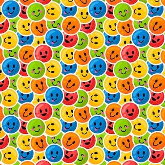 Modelo de padrão sem emenda de emoticon colorido sorridente