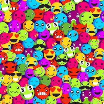 Modelo de padrão sem emenda de emoticon de vários rostos
