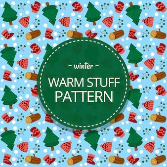 Modelo de padrão sem emenda de inverno mão desenhada