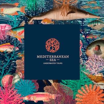 Modelo de padrão subaquático vintage com logotipo mínimo, remixado de obras de arte de domínio público