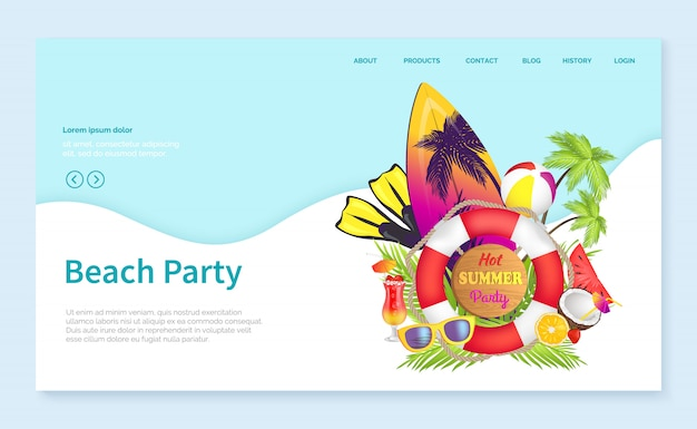 Modelo de página da página de aterrissagem com prancha de festa na praia e trópicos de bóias salva-vidas