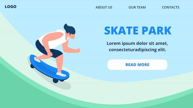 Modelo de página da página de aterrissagem jovem rapaz no skate de andar de roupa de verão.