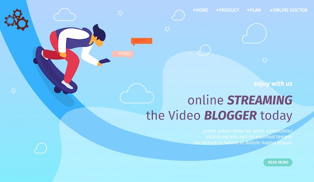 Modelo de página da página de destino para transmissão on-line, vlogs e youtubers