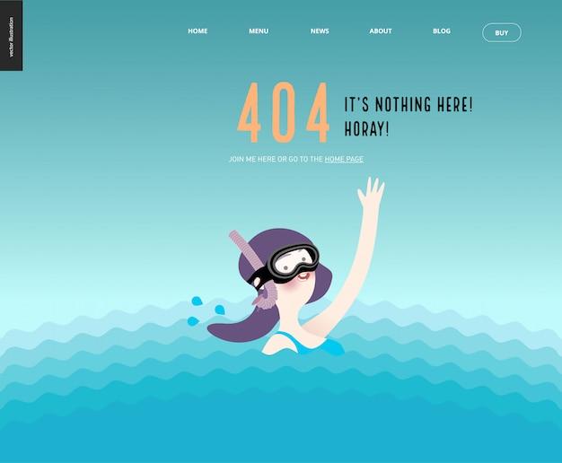 Modelo de página da web 404 erro com acenando menina em máscara de mergulho na água