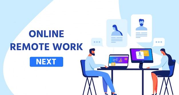 Modelo de página da web apresentando trabalho remoto on-line