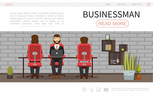 Modelo de página da web colorido de empresário plano com empresários trabalhando em prateleiras de plantas de escritório e design de parede de tijolos