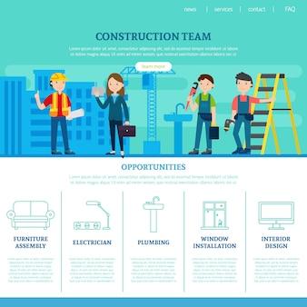 Modelo de página da web da equipe de construção