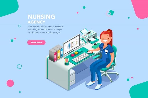 Modelo de página da web de agência de enfermagem