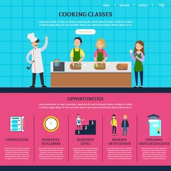 Modelo de página da web de aulas de culinária coloridas