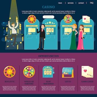 Modelo de página da web de cassino
