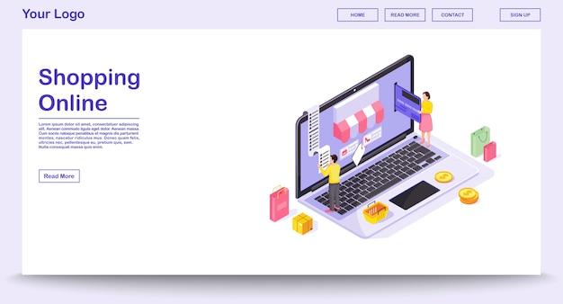 Modelo de página da web de compras online com ilustração isométrica. interface do site, aplicativo móvel. pagamento eletrônico. conceito de site de loja de roupas. infográfico de compra digital
