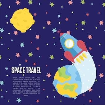 Modelo de página da web de desenhos animados de viagens espaciais