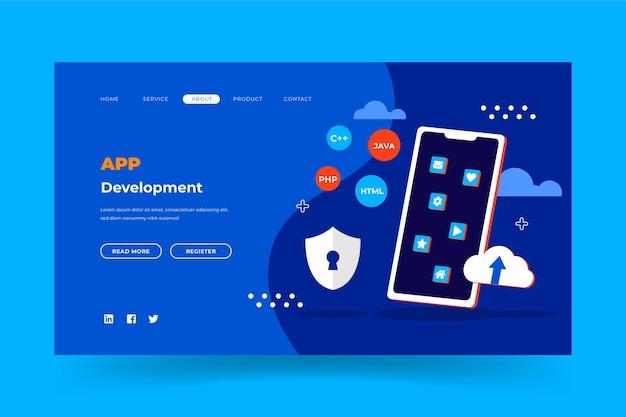 Modelo de página da web de desenvolvimento de aplicativos