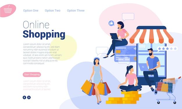 Modelo de página da web de design plano para compras online, marketing digital, estratégia de negócios e análises. conceito de ilustração da moda para site e aplicativo móvel.