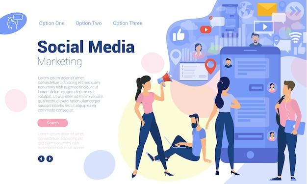 Modelo de página da web de design plano para marketing digital de mídia social, estratégia de negócios e análise. conceito de ilustração da moda para site e aplicativo móvel.