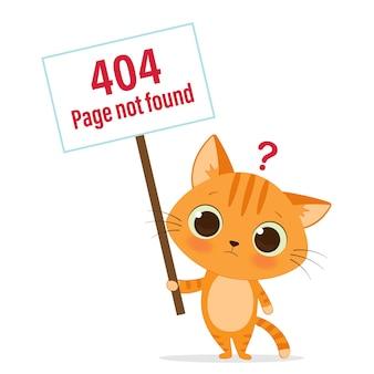 Modelo de página da web de erro 404 com gato fofo