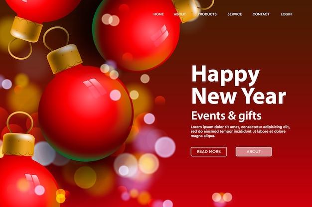 Modelo de página da web de feliz ano novo para página de destino