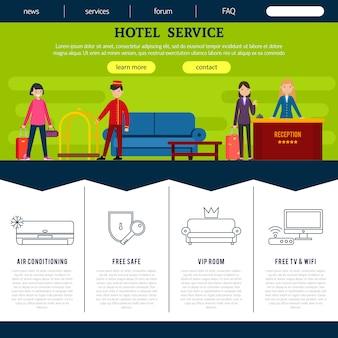 Modelo de página da web de hotel plano