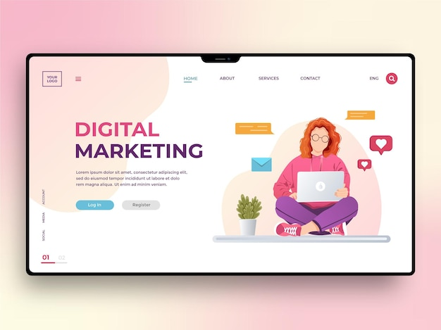 Modelo de página da web de marketing digital com uma jovem que trabalha em um laptop. estratégia de negócios, impulsione sua marca. ilustração vetorial em estilo simples para celular, cartaz, banner e desenvolvimento de sites