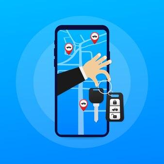 Modelo de página da web de publicidade de serviço de compartilhamento de carro. banner do serviço de aluguel automático. negociação de carros e aluguel de carros.