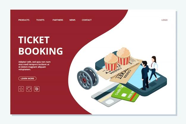 Modelo de página da web de reserva de bilhetes de cinema. página de destino do cinema isométrico