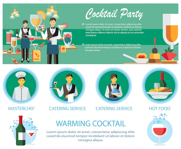 Modelo de página da web de serviço de catering de coquetel