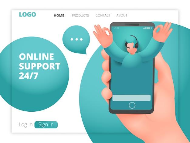 Modelo de página da web de suporte on-line com personagem assistente masculina