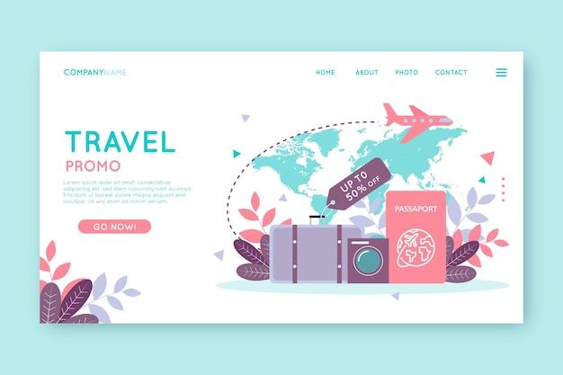 Modelo de página da web de venda de viagens com ilustrações