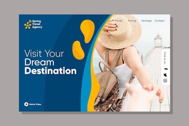 Modelo de página da web de vendas em viagem