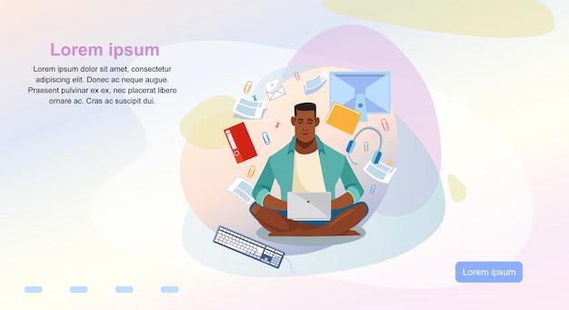 Modelo de página da web de vetor de desenhos animados de cursos on-line