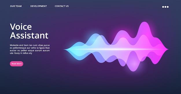Modelo de página da web do assistente de voz. página de destino da onda sonora. ilustração de voz do assistente de reconhecimento de site