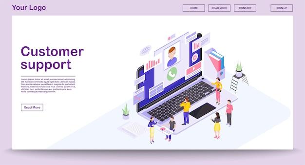 Modelo de página da web do centro de suporte ao cliente com ilustração isométrica