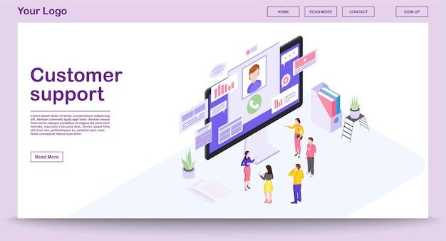 Modelo de página da web do centro de suporte ao cliente