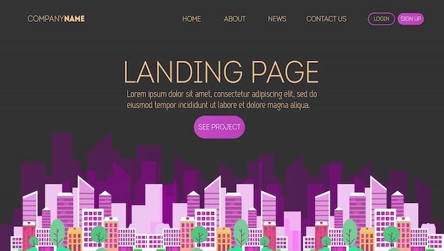 Modelo de página da web empresa de construção. página de destino de um site sobre negócios imobiliários