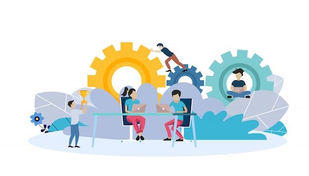 Modelo de página da web para análise, construção de equipe