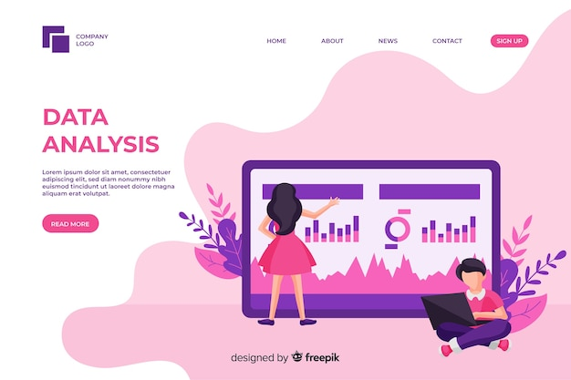 Modelo de página de análise de negócios com foto
