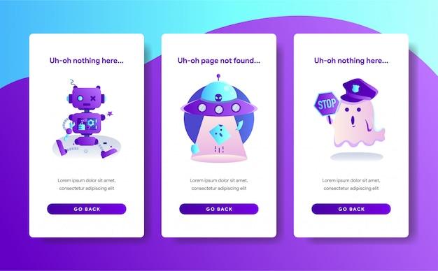 Modelo de página de aplicativo do design de erro 404
