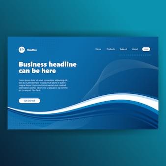 Modelo de página de aterragem com gráfico design criativo azul